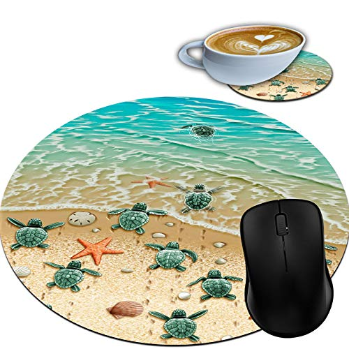 Gaming Mouse Pad, Round Mouse Mat, Non-Slip Rubber Base Desktop Mousepad and Coaster Set, Small Size 7.9 x 7.9 x 0.1 Inch- Turtles on The Beach