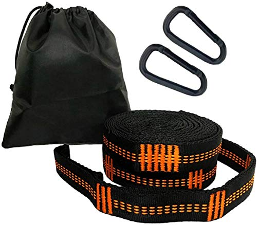 Hammock Straps with Carabiners, 20 Feet Long & 38 Adjustable Loops Total- Quick & Easy Setup for Hammock,Swing. Extra Strong, Lightweight & Tree Friendly (Orange + Black)