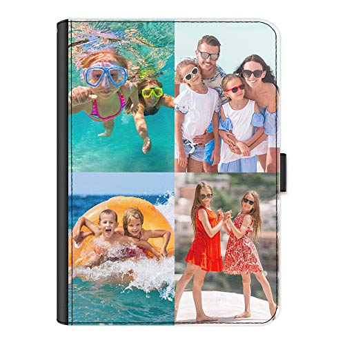Personalised Case For Apple iPad 6 (2018), 360 Swivel Leather Side Flip Cover, Personalize With Image, Customise with Photo Collage - Four Image, Equal Size, Borderless, Layout A