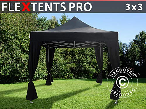 Dancover Vouwtent/Easy up tent FleXtents PRO 3x3m Zwart, incl. 4 decoratieve gordijnen