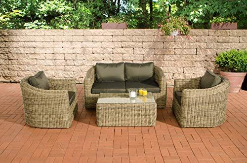 CLP Bergen - Conjunto de muebles de jardín (polirratán, incluye cojines acolchados,...