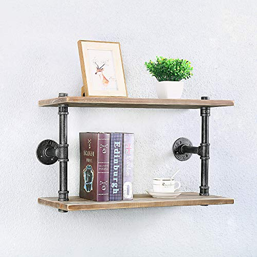 Industrial Pipe Shelf Wine Rack Wall Mounted with 9 Stem Glass Holder,36in Real Wood Shelves Kitchen Wall Shelf Unit,3-Tiers Rustic Floating Bar Shelves Wine Shelf,Steam Punk Pipe Shelving Glass Rack