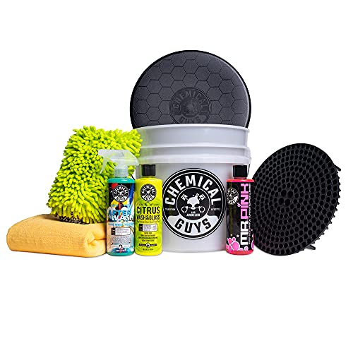 Chemical Guys HOL_128 Car Cleaning Kit, with Car Wash Soap, Car Wash Bucket and 16oz Car Care Cleaning (8 Items)