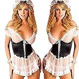 HTRP Corsés para Mujer WomenErotic Lingerie Sets Sex Maid Uniform Plus Size Women Lencería Sexy para Juegos de rol Perspectiva Encaje Babydoll Disfraces Ropa Interior-M