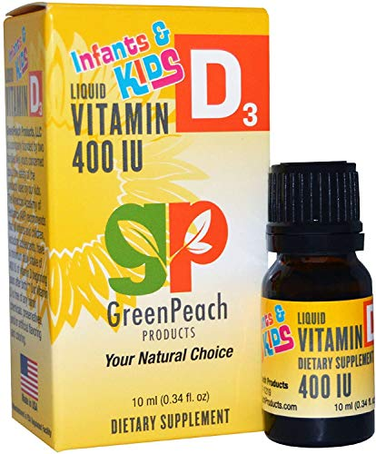 GreenPeach Vitamin D Drops for Infants – Vital 400IU Liquid Vitamin D3 for Healthy Bones, Growth and Immune Health, 100% Organic Olive Oil Non GMO Ingredients Vegetarian & Kosher Friendly