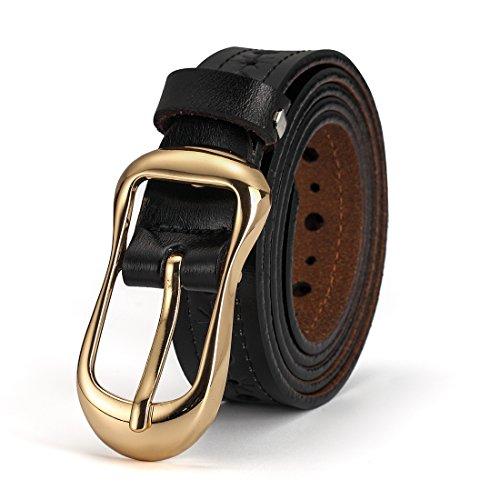 """McFanBe Cinturón de Cuero de Las Mujeres con La Hebilla de La Aleta Grommet Hollow remaches 1.1""""Anchura (XL(37""""-43""""), Negro)"""