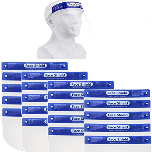20 Pack Safety Face Shield, All-Round Protection Headband with Clear Anti-Fog Lens, Lightweight Transparent Shield with Stretchy Elastic Band (20)