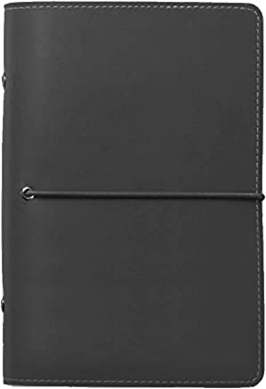 Labon's 6 Round Ring Binder Hardcover Personal Organizer Refills with Ruled Dotted Squared Blank Filler Paper/Loose Leaf Premium Thick Paper 200 Pages 5 Divider Tabs Inserts (A7, Black)