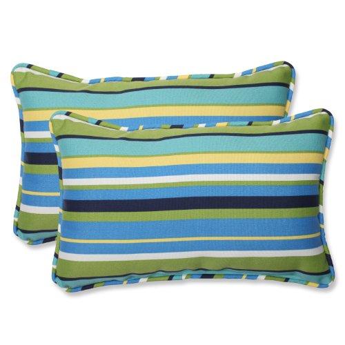 """Pillow Perfect Outdoor/Indoor Topanga Stripe Lagoon Lumbar Pillows, 11.5"""" x 18.5"""", Blue, 2 Pack"""