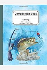 Composition Notebook: Fishing 7.44 x 9.69 - 160 Lined Pages / 80 Sheets: Notebook Journal for Boys Paperback