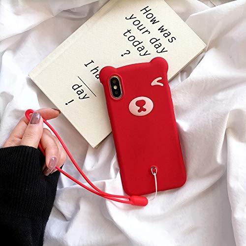 HUAI Funda de silicona suave para iPhone SE 2020 11 Pro Max Bear para iPhone 7 8 Plus para iPhone X, XS MAX XR con funda de protección de cuerda de mano (nido : funda+correa, color: rojo)