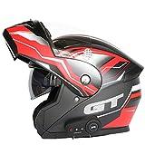 ZLYJ Bluetooth Helmet Integrated Modular Motorcycle,Anti-Fog Double Visor Motorbike Locomotive Helmet for Mofa Crash...