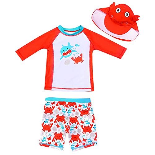 AIWUHE Baby Junge Zwei Stück Cartoon Badeanzug Schwimmbekleidung mit Hut Sonnenschutz Schwimmanzug Bade-Set, Orange, 100