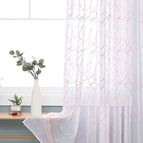 Deconovo Cortinas Visillos para Ventana Cortina Transparente con Ojales para Dormitorio y Salón 2 Piezas 140 x 240 cm Rosa