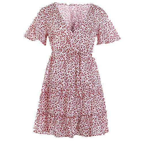 Women Dress Ruffle Short Mini Dress Summer Knot Sexy V-Neck Party Holiday Dress Pink