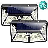 180 LED Luz Solar Exterior,HETP【2019 Versión de Ahorro Energía 】Luces Solares con Sensor de Movimiento Lámpara Solar Impermeable Iluminación Exterior led Foco Solar para Exterior Jardin Garaje