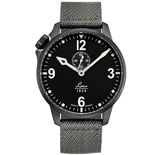 Laco/1925 Men's Cockpitwatch Stainless Steel Japanese-Automatic Watch with Nylon Strap, Grey, 20 (Model: 861909)