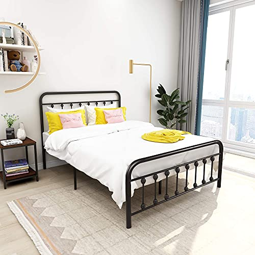 Metal Bed Frame Vintage Sturdy Full Size with Headboard and Footboard Mattress Foundation No Box Spring Needed (Full, Black)