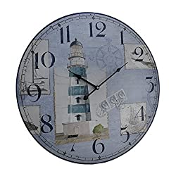 Zeckos Blue and White Nautical Lighthouse Round Wooden Wall Clock