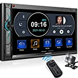 【Perfect Compatibility For Vehicle Fit】: 100% standard mounting dimension of double din in dash metal case(178mm*100mm), compatible with most installation dash kit brands (Metra/Scosche/PAC dash kit). No trimming/cutting job required. 【 Phonelink Com...
