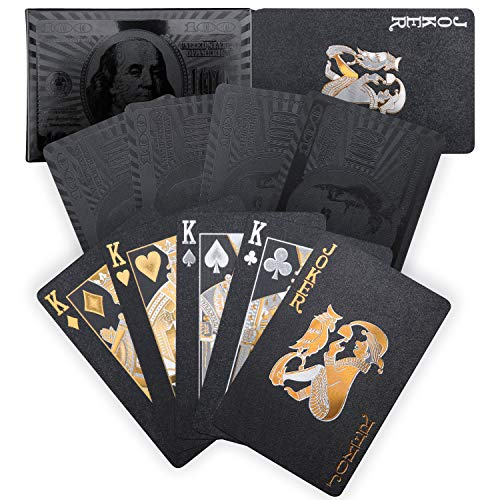 Best Prices! Joyoldelf Cool Black Playing Cards, Waterproof Poker with Dollar Pattern, Black-Gold Fo...
