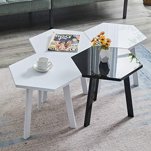 Greneric 4 Set Beistelltisch Moderne Hochglanz Sofatische minimalistisch skandinavischer Stil Couchtische mit Beinen Tischkombination fürs Wohnzimmer Balkon (Weiß schwarz)