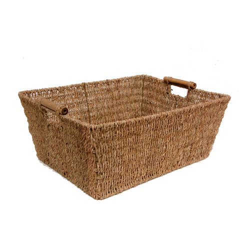 The Lucky Clover Trading Seagrass Storage Basket with Bamboo Accent Handles, Natural