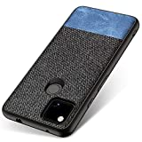 Kapa Soft Fabric & Leather Hybrid Protective Case Cover for Google Pixel 4A (Black,Blue)