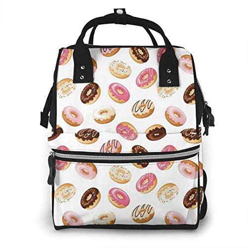 nbvncvbnbv Petit déjeuner Fast Food Dessert Donuts Sac à couches Multi-Function étanche Voyage Mummy Backpack Nappy Bags for Baby Care Large Capacity Stylish and Durable