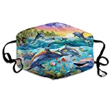 TecBillion Underwater Sea Animal Windproof Fabric Mask with Filter Pocket Washable Balaclava Breathable Reusable Adjustable Outdoor Face Cover for Men and Women