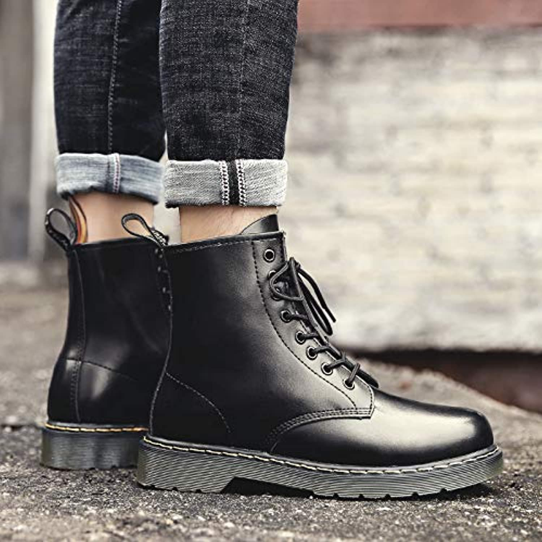 Shukun Men's boots Martin Boots Men'S High-Top Men'S shoes Wild Black Tooling Boots Autumn Pu Men'S Boots