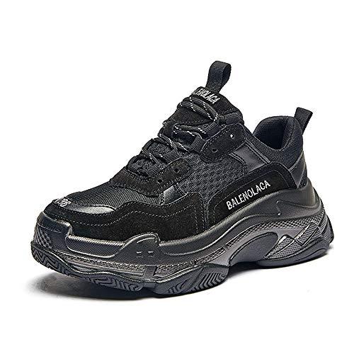 Aegilmcii Frauen Clunky Sneaker Dad Schuhe Farbe Highlight Fashion Sports Schuhe,Black,M