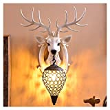 TIM-LI Jahrgang Antlers Resin Wandleuchte, Kreative Kristall Wandleuchte/Wohnzimmer/Bar/Cafe Hotelkorridor Dekorieren (Ohne Lichtquelle),A
