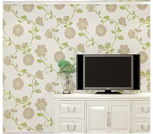 Behang vliesbehang - reliëf bloem 3D muursticker woonkamer achtergrond slaapkamer bescherming deco 0,53 m x 10 m groen