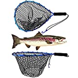 UFISH Fishing Net for Freshwater and Saltwater Fishing, Fish Landing Net with Rubber Mesh for Catfish, Fly, Kayak, Bass, Steelhead, Trout Fishing, Fish Net with Non-Slip Handle for Safe Fishing (Blue)