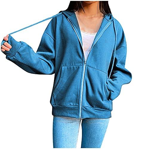 Yue668 - Sudadera informal con capucha y capucha para mujer, color liso, azul, XL