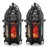 2 Unids Metal Tealight Candle Holder Tamaño Pequeño Centros De Mesa De La Boda Colorido Linternas Colgantes Creativos De Boda Decoración De La Mesa De Casa Birdcage, Negro
