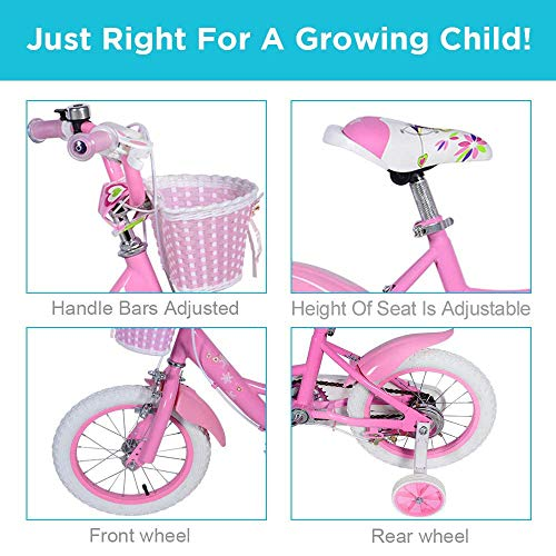 Dripex 14 Inch Girls Kids Bike with Training Wheels and Basket for 3-6 Years Old,Dirt Toddler Bike with Pedals for Kids Pink