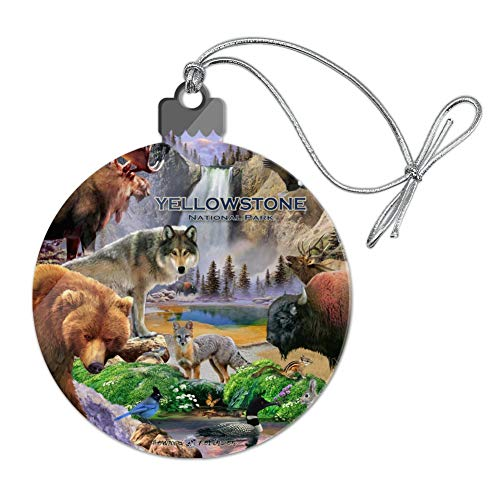 GRAPHICS & MORE Yellowstone National Park Wyoming Montana Idaho Animals Wolf Bear Fox Bison Acrylic Christmas Tree Holiday Ornament