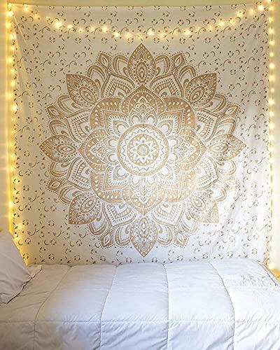 Alittle Mandalic Gold Tapestry Mandala Colgadores de la pared Indian Cotton Beach Lanzar Manta Hippie Tapices Boho Decor Twin Betspread Yoga Meditación Mat Rugs 52 x 60 Pulgadas