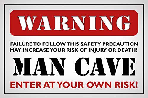 Cartel de chapa 20 x 30 cm arqueado Warning Man Cave Humor frase decoración regalo cartel