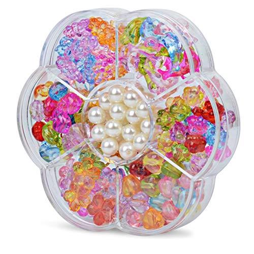 VGY 7 Girds Kids Girls Girls DIY Juguetes Cuentas de Cadena Plum Blossom Caja Conjunto Kit de construcción (Color : Crystal)