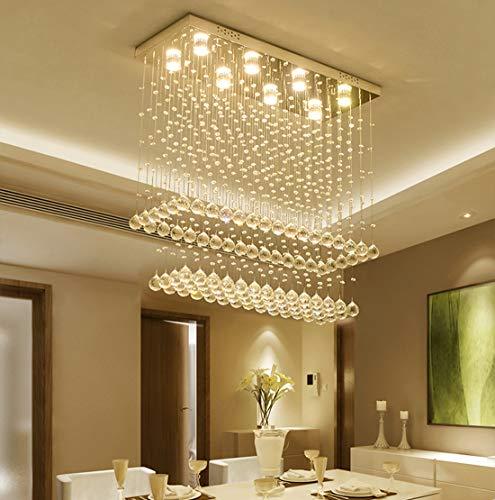 Moooni Modern Rectangular Raindrop Crystal Chandelier Ceiling Lighting Fixture Rectangle Pendant Flush Mount LED Light for Dining Room L 40'x W 12'x H 31.5'
