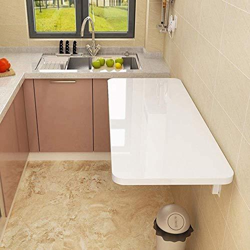 JIADUOBAO Mesa de pared plegable de madera, mesa de comedor para cocina/lavandería, escritorio de estudio (color: blanco, tamaño: 60 x 30 cm)