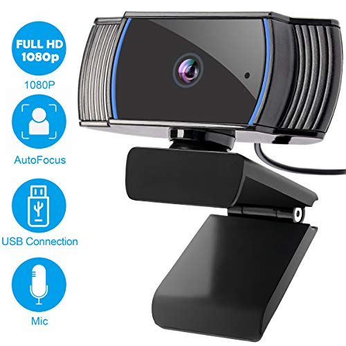 1080P Webcam with Microphone, Roadom Full HD USB Camera Computer Web Cam Laptop Web Camera, Autofocus, Noise-Cancellation Mic for Video Calling, Recording, Conferencing, Zoom Meeting