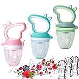 LABOTA 3 Stück Fruchtsauger Baby, Schätzchen Schnuller Gemüse sauger für Schätzchen Schnuller Beißring für Obst Gemüse, Inklusive 9 Silikon-Nippel (3 Größen)