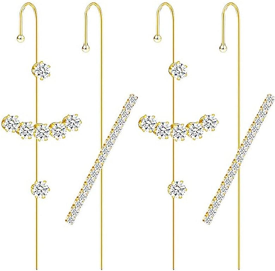 Yoursfs Cartilage Earrings Set Ear Wrap Crawler Cz Earrings Cubic Zirconia Hypoallergenic Piercing Ear Cuffs Crawler Hook Earrings for Women