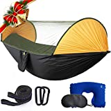 Hammock with Mosquito Net 2 Person Camping, Ultralight Portable Windproof, Anti-Mosquito, Swing Sleeping Hammock Bed with Net and 2 x Hanging Straps for Outdoor, Hiking, Backpacking, Travel