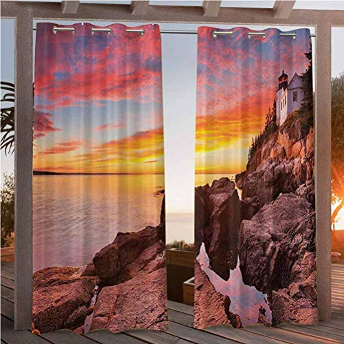 Anmaseven 108' W by 84' L(K274cm x G213cm) National Parks Home Decor Patio Curtain Panel for Thermal Insulated Privacy Protected Lighthouse on The Harbor Sea Shore with Horizon Sky New England Design