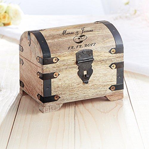 Casa Vivente Schatztruhe aus hellem Holz mit Gravur zur Hochzeit, Motiv Ringe, Personalisiert mit Namen und Datum, Verpackung für Geldgeschenke - 7